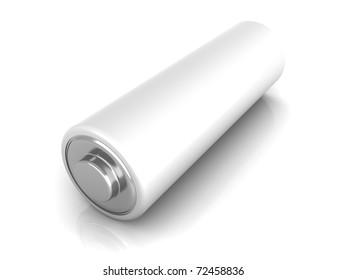 3D rendered Illustration. Isolated on white. An AA Battery.
