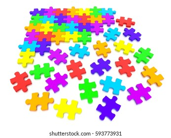 3D rendered illustration of a Jigsaw Puzzle concept, depicting teamwork and connection.