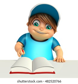 3d rendered illustration of Kid boy with book