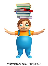 3d rendered illustration of kid boy with Book Stack