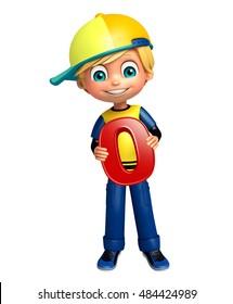 3d rendered illustration of kid boy with 0 digit