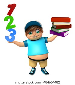 3d rendered illustration of kid boy with Book Stack & 123 Sign