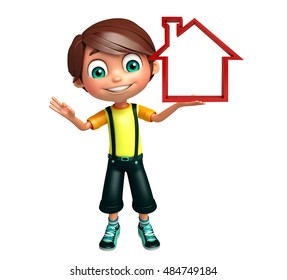 3d rendered illustration of kid boy with home sign