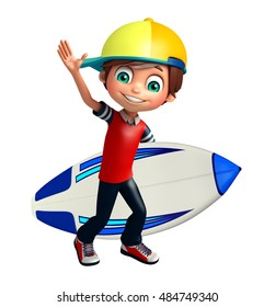 3d rendered illustration of kid boy with Surfboard