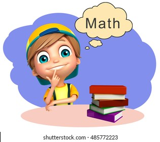 3d rendered illustration of kid boy with books