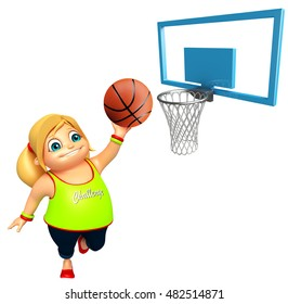 3d rendered illustration of Kid girl with Basket ball
