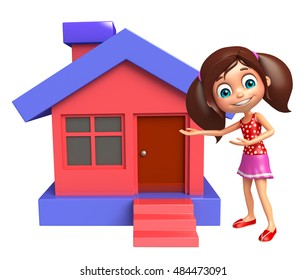 3d rendered illustration of kid girl with Home