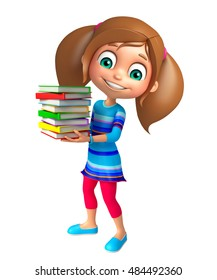 3d rendered illustration of Kid girl with Book stack
