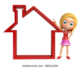 3d rendered illustration of Kid girl with Home sign