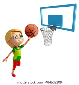 3d rendered illustration of Kid girl with Playing Basket ball