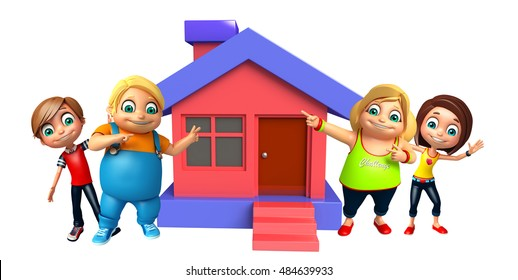 3d rendered illustration of kid girl and kid boy with Home