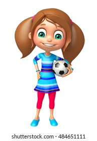 3d rendered illustration of kid girl with Football