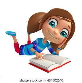3d rendered illustration of Kid girl with Book