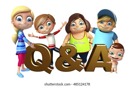 3d rendered illustration of kid girl, kid boy and cute baby with Q&A sign