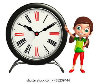3d rendered illustration of kid girl with Clock
