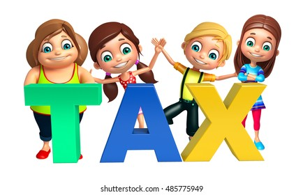3d rendered illustration of kid girl and kid boy with Tax sign