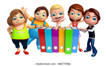 3d rendered illustration of kid girl, kid boy and cute baby with Files