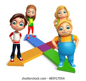 3d rendered illustration of kid girl and kid boy with Arrow