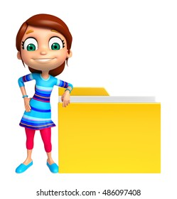 3d rendered illustration of kid girl with Folder