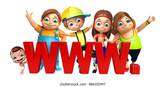3d rendered illustration of kid girl, kid boy and cute baby with WWW sign