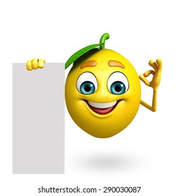 3d rendered illustration of lemon cartoon character with sign