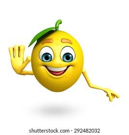 3d rendered illustration of lemon cartoon character