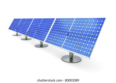3D rendered Illustration. A line of solar panels, isolated on white.