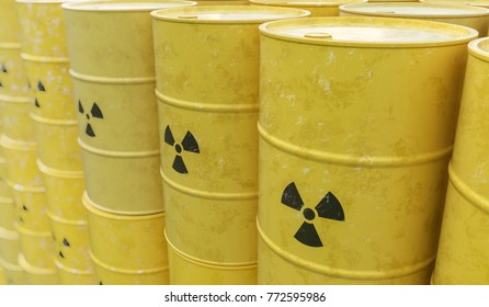 3D rendered illustration of many radioactive barrels. Nuclear waste dumping concept.