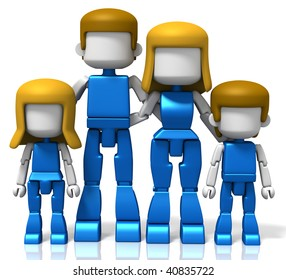 3D rendered illustration of MiniToy family, including father, mother, son and daughter