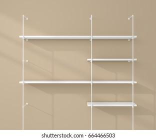 3d rendered illustration of modern bookshelves.