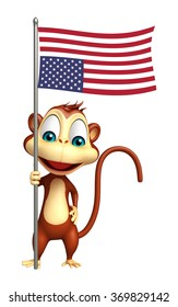 3d rendered illustration of Monkey cartoon character with flag