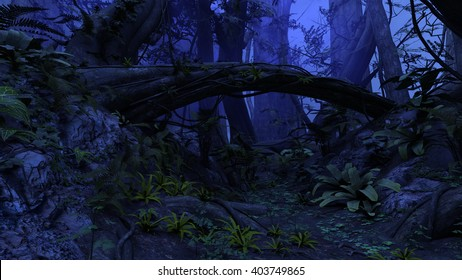 3D rendered illustration of night deep forest