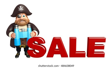3d rendered illustration of Pirate with Sale sign & Binocular