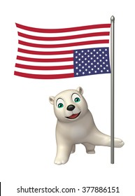 3d rendered illustration of Polar bear cartoon character with flag