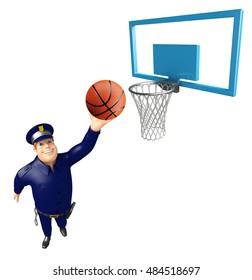 3d rendered illustration of Police with Basket and Basket ball
