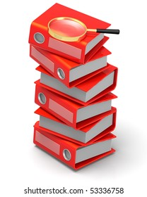 3D rendered illustration of red ring binders arranged in a stack with a magnifying glass on top of them, isolated in white