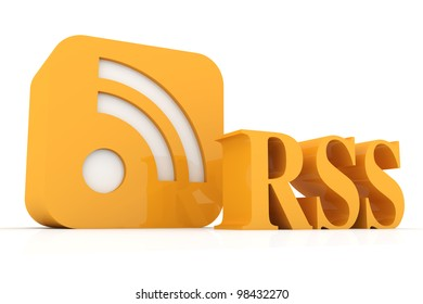 3D rendered Illustration. RSS symbol. Isolated on white.