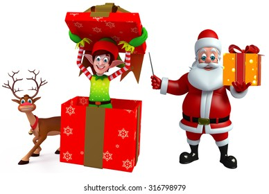 3d rendered illustration of santa claus and elves with reindeer