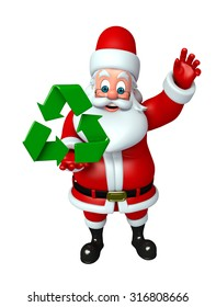 3d rendered illustration of santa claus with recycling icon
