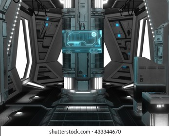 3D rendered illustration of sci-fi spaceship interior