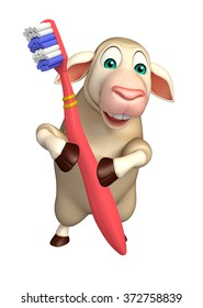 3d rendered illustration of Sheep cartoon character with toothbrush