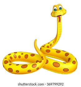 3d rendered illustration of sitting Snake cartoon character