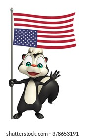 3d rendered illustration of Skunk cartoon character with flag