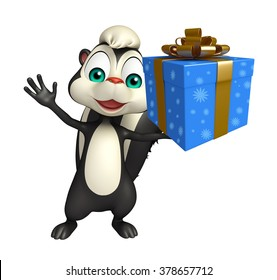 3d rendered illustration of Skunk cartoon character with giftbox