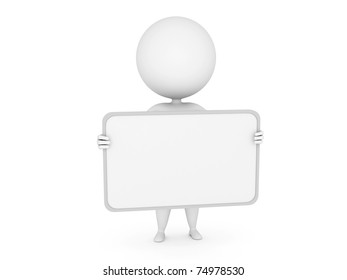 a 3d rendered illustration of a small guy with a blank sign
