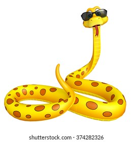 3d rendered illustration of Snake cartoon character