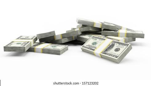 3d rendered illustration of some dollar stacks