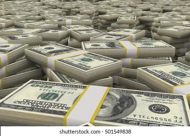 3D rendered illustration of stack of dollar bills.