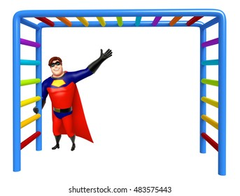 3d rendered illustration of Superhero with Climbing