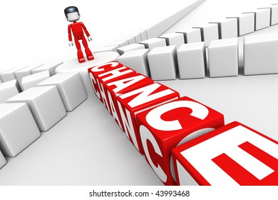 """3D rendered illustration of symbolic person in indecision standing on crossroads, and dice-like cubes spelling the word """"chance"""" with white letters, leading away from the crossroads."""